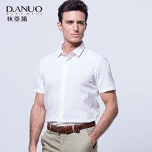 狄亚诺夏季新款商务休闲翻领纯色纯棉衬衣中年短袖衬衫男  116601