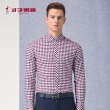 TRIES-才子男装新款春季新品男装时尚休闲磨毛衬衣格纹长袖衬衫男1365E3321