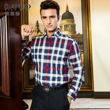 狄亚诺 秋装新品 商务休闲纯棉 男士修身大格子长袖衬衫   246511