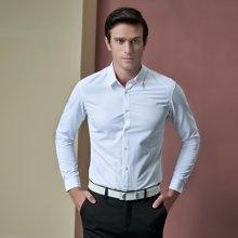 卓狼长袖衬衫涤棉免烫蓝色纯色男士商务职业装工装衬衣C907