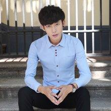 卓狼棉男士长袖衬衫商务休闲韩版修身免烫新郎衬衣男青年 蓝C1318