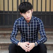 卓狼格子衬衫2017秋季新款男士长袖棉休闲衬衣青年韩版C1706