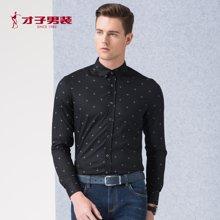 TRiES-才子男装新款春季新款印花衬衫男士修身抗皱休闲长袖衬衣男1365E2221