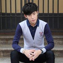 卓狼男士长袖衬衣韩版休闲假两件衬衫领男装打底衫上衣男C1611