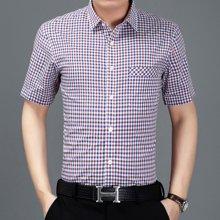 梵蒂古琦短袖衬衫青年纯棉男装夏季新款格子衬衫7147