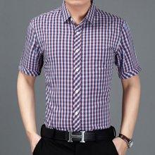 梵蒂古琦短袖衬衫中年夏季新款休闲男装纯棉短袖09061