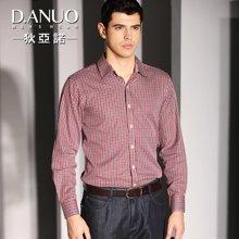 狄亚诺 秋装新款中年男士长袖衬衫 商务休闲纯棉修身格子衬衣(246020)