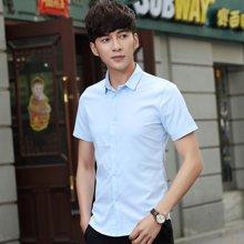 魔力怪车 2017夏季新款韩版休闲修身纯色短袖男士衬衫衬衣571002AT06
