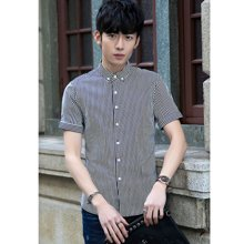 花花公子贵宾 2017夏季新款韩版修身细条纹短袖男士衬衣衬衫