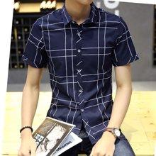 魔力怪车 2017夏季新款韩版休闲格子衬衣男士修身短袖衬衫571006AA301