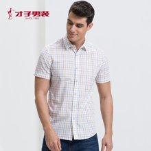 TRiES-才子男装2017夏季新款男士衬衣青年格子纹修身短袖商务休闲衬衫1272E2721