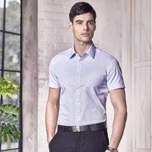 Evanhome/艾梵之家 夏季商务修身款条纹衬衫男式短袖蓝色提花免烫正装衬衣男DX15602