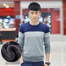 卓狼冬季男士毛衣韩版圆领条纹针织衫男装加绒加厚套头线衣M6602