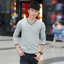 卓狼秋季男士套头毛衣男薄款韩版修身线衣纯色男装v领长袖针织衫外套M9006