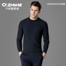 千纸鹤男装春季套头毛衣 男士青年修身半高领线衣 黑色针织衫 HMMT5029
