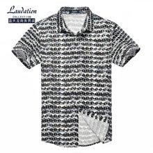 蓝天龙男装 夏天新款短袖针织衬衫商务休闲印花款 8727