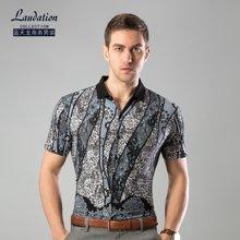 蓝天龙男装 夏天新款短袖针织衬衫商务休闲印花款 8725