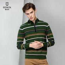 条纹羊毛衫秋冬新款OJACK欧尼杰男士立领拉链时尚舒适修身男 8634