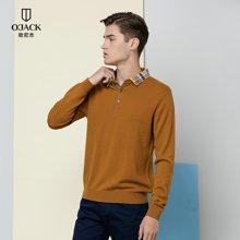 纯色翻领羊毛衫秋冬新款OJACK欧尼杰男士英伦风时尚舒适男 9636