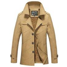 卓狼新款秋冬季男士加绒加厚夹克休闲外套加厚青年韩版加绒风衣男装潮JR1111