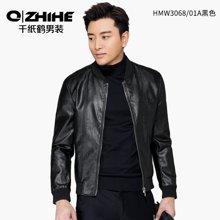 千纸鹤春季男士皮衣 青年短款飞行领棒球服 修身皮夹克外套男 HMWT3068