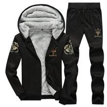 卓狼男士卫衣套装加绒加厚连帽冬季韩版休闲衣服男冬装运动开衫外套潮W057