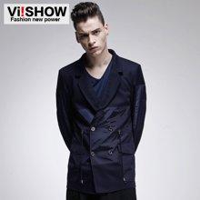 viishow 春秋男式外套 纯色拼接西装 英伦潮流薄外套 修身上衣XC16551
