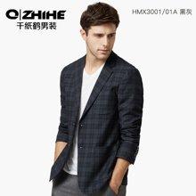 千纸鹤男装春款时尚经典格纹男士便西青年修身百搭色织外套男 HMXC03001