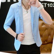 花花公子贵宾 2017春夏装新款休闲纯色薄款男士七分袖单件西装外套 HG1852