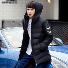 卓狼冬季潮青年加厚连帽男士羽绒服男中长款修身型男装夹克外套男Y1606