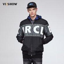 VIISHOW冬季棉衣潮牌字母印花棒球领棉服青年撞色外套MC42464