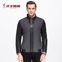 才子男装 秋季新品夹克男士黑色绅士休闲jacket修身外套2256E1222