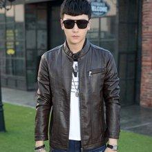 卓狼2016春装新款韩版男士修身皮夹克立领拼接皮衣外套P5612