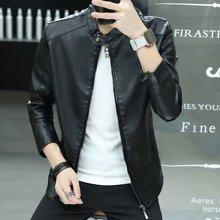 卓狼秋冬青年男士韩版机车皮衣夹克修身型加绒加厚冬季外套P7969