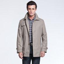 狄亚诺 2016春秋装新款韩版中长款风衣 英伦翻领修身男士外套中年(232118)