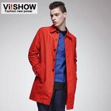viishow男装 风衣 红色修身中长款风衣外套 简约潮流风衣FC55151