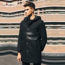 VIISHOW 冬装风衣 欧美中长款拼皮风衣外套 连帽大衣修身F117454
