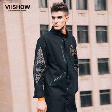 VIISHOW 冬季风衣 中长款印花图案风衣男 欧美时尚大衣潮 F108853