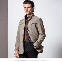 狄亚诺 秋季新款商务休闲中年男士修身中长款立领风衣 外套男  232601