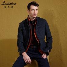 蓝天龙冬新款立领羊毛大衣男装毛呢大衣休闲呢子外套男中长款3837