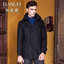 狄亚诺 冬装商务双排扣中长款男士羊毛大衣 中年修身呢子外套黑(240190)
