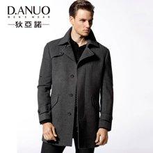 狄亚诺 冬装毛呢外套 修身羊毛大衣男 商务中长款风衣灰色厚(240112)