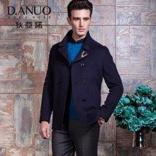 狄亚诺 秋冬新品商务男士双排扣羊毛呢大衣修身立领加厚外套(240420)