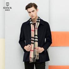 OJACK欧尼杰时尚男士毛呢大衣外套新品纯色时尚修身大衣 9844