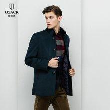 OJACK欧尼杰立领男士修身獭兔毛领外套中长款毛呢大衣 8828