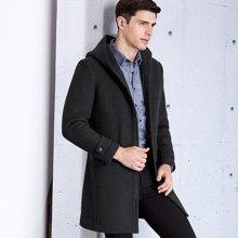 千纸鹤冬季呢子大衣男中长款 修身青年新款连帽羊毛呢外套 3569
