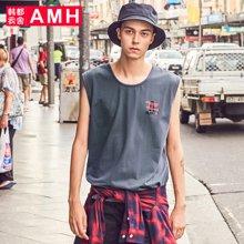 AMH男装韩版2018夏季新款青年字母印花套头男士圆领背心OJ8202琳