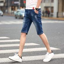 芃拉薄款牛仔裤男马裤5分裤子男士牛仔短裤男夏季五分裤休闲中裤YLX950