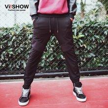 viishow春装新款休闲长裤 欧美时尚哈伦裤运动裤男 黑色长裤 KC56361