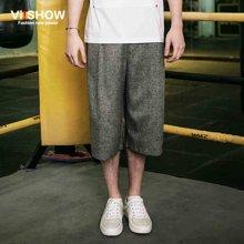 viishow夏装短裤 欧美时尚七分裤男 花灰色阔腿短裤男潮  KB97762